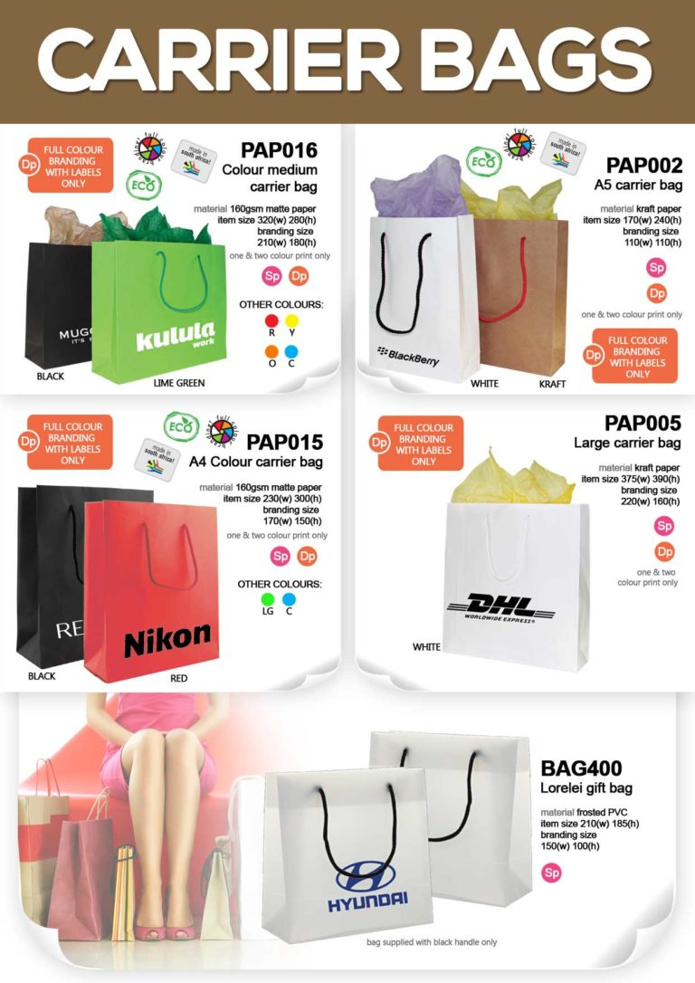 Printed Carrier Bags – 1 Colour – Promotional Item