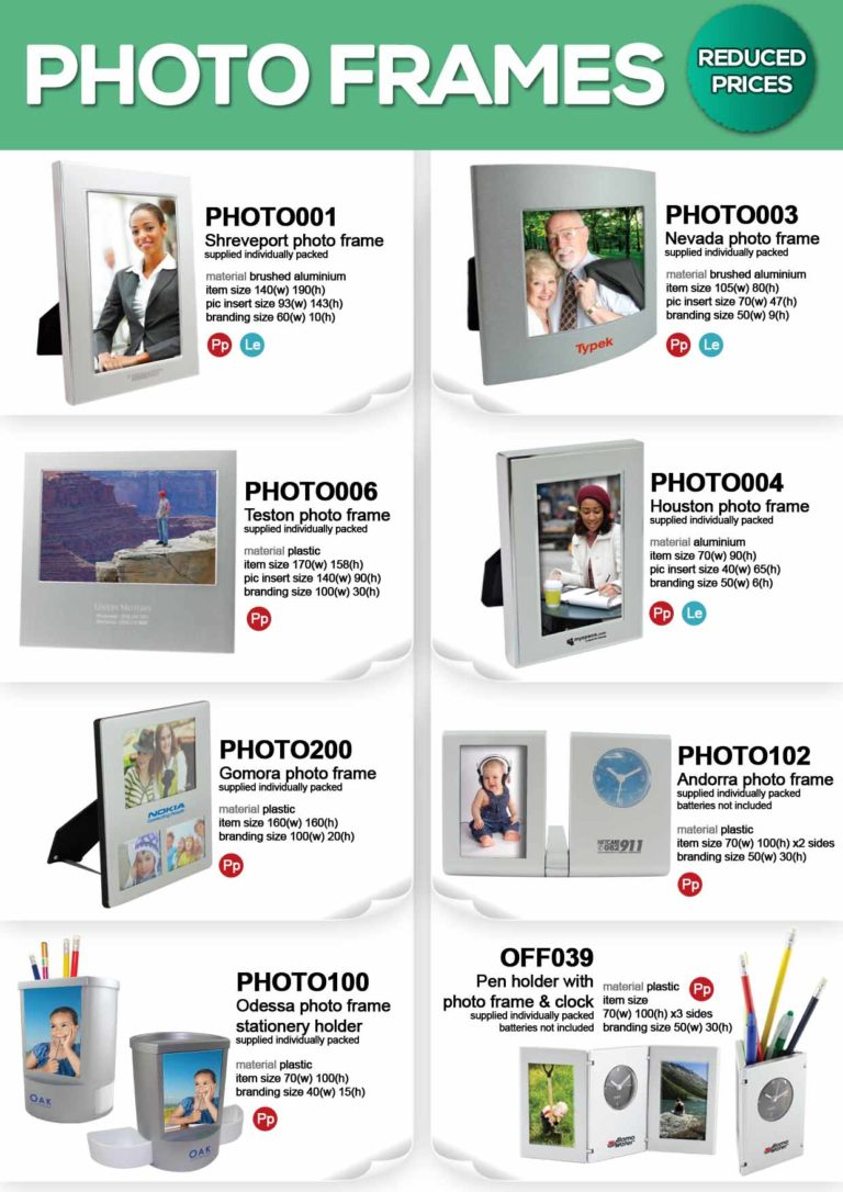Photo Frames with FREE 1 colour print – Promotional Gifts
