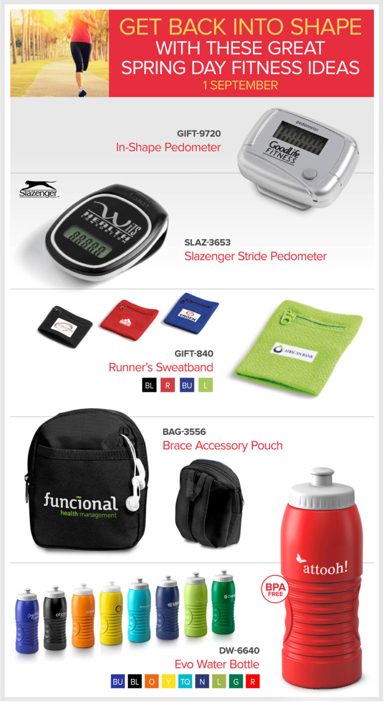 Fitness ideas-pedometers, sweat bands and sports bottles- fitness items