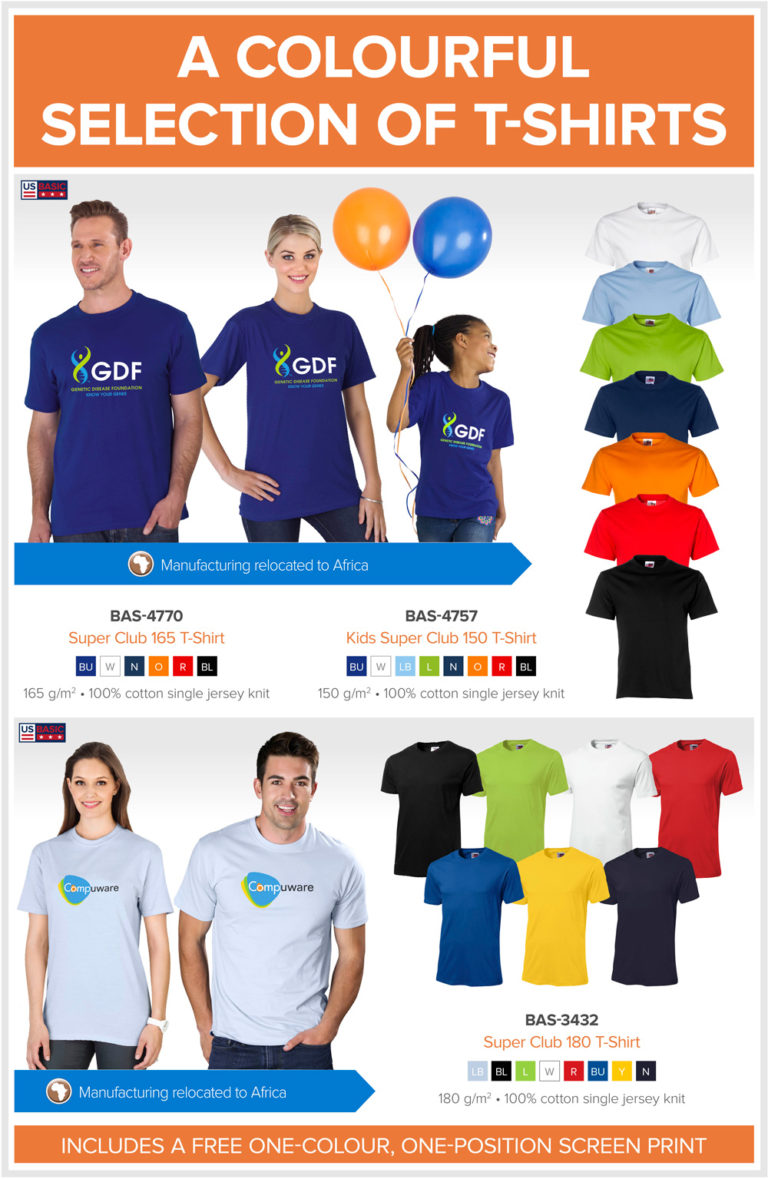 Colourful branded t shirts