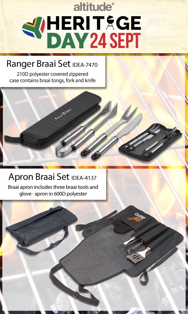 Heritage  braai apron and braai sets