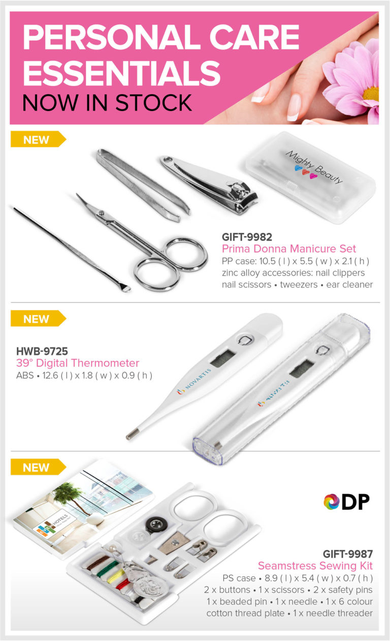 Personal Care Essentials- sewing kits, manicure sets and thermometer