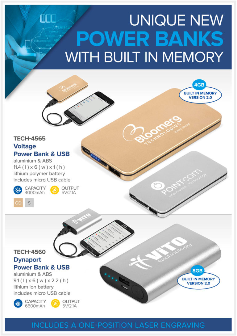 Unique New Power Banks with Built In Memory
