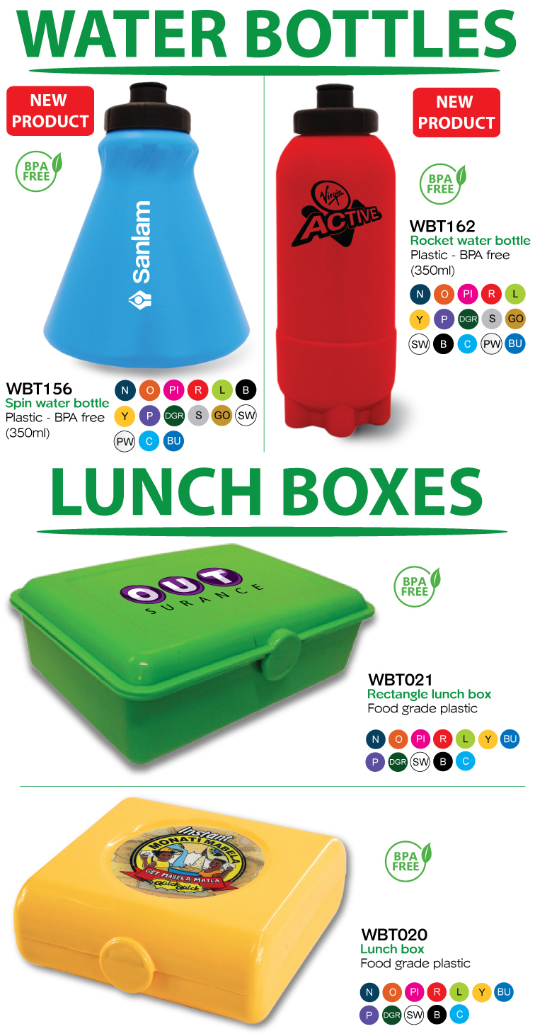 water bottles and lunch box
