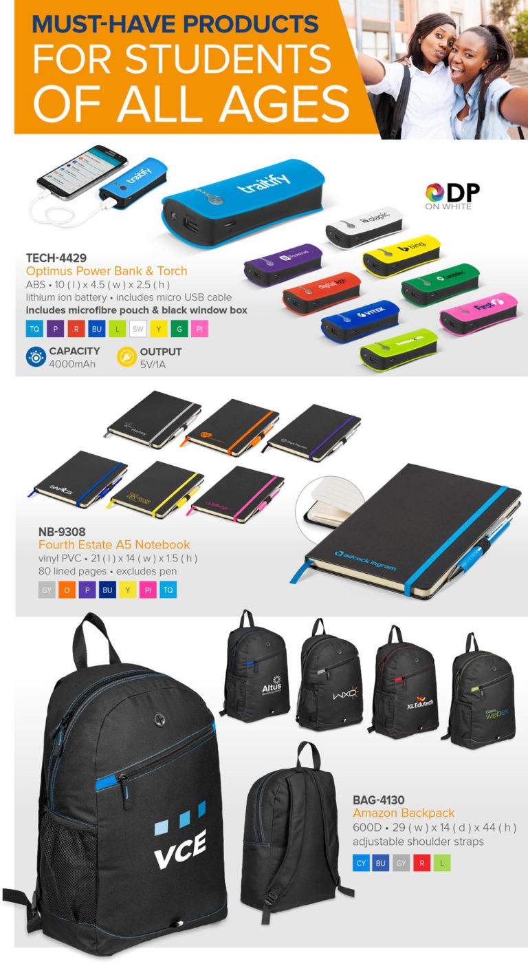 powerbanks, notebooks and backpacks